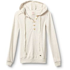 Seabreeze Hoodie ($52) ❤ liked on Polyvore featuring tops, hoodies, shirts, sweaters, jackets, white shirt, white hoodies, pullover shirt, quiksilver shirt and pullover hoodies