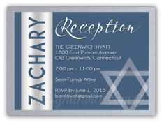 Modern Bar Mitzvah Reception Card. Professionally printed Bar Mitzvah invitations for boys. Hand-mounted onto beautiful thick silver metallic card stock. Very unique and extremely high quality design