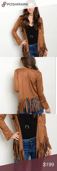 """Brown Suede Fringe boho Jacket cardigan gift It's HERE!! NOT FREE PEOPLE (there for awareness). Stunning open front suede like jacket, eye catching free falling fringe. This 35"""" long jacket reminds me of the $1600 Glam Rock Suede Jacket from FREE PEOPLE. Buy this crush worthy style at a fraction of the cost. 92% polyester 8% spandex.  Look great this fall & winter with this unique style! IMPORTANT SIZING INFO on 4TH picture. 🚫trades, 🚫returns. ask Q's ❤️PRICE FIRM unless bundled❤️HIGH…"""