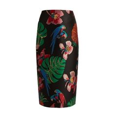 Valentino Tropical Dream-jacquard pencil skirt found on Polyvore featuring skirts, black multi, jacquard skirts, knee length pencil skirt, patterned pencil skirt, wet look skirt and shiny skirt