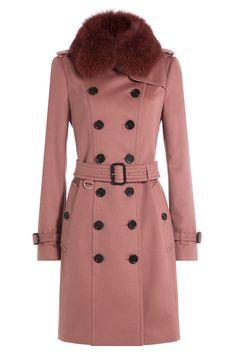Wool Coat with Fox Fur Collar - Burberry   WOMEN   GB STYLEBOP.COM