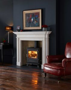Chesney's Salisbury Stove – Flames Fireplaces Living Room Decor Modern, Home Fireplace, Bay Window Living Room, Cosy Living Room, Dark Living Rooms, Living Room With Fireplace, Log Burner Living Room, Fireplace Surrounds, Victorian Living Room