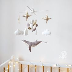 Baby Mobile - Whale Baby Mobile - Whale Nursery Mobile - Star Baby Crib Mobile - Gift for Baby - Balloon Mobile - Nautical Mobile Cool Baby, Baby Boy Rooms, Baby Cribs, Best Crib Mobile, Baby Ballon, Wood Hanger, Nautical Mobile, Whale Nursery, Nautical Nursery