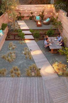 Modern urban backyard with fire pit area