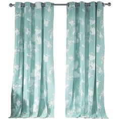 Kensie Aster Pair Panel Curtains ($51) ❤ liked on Polyvore featuring home, home decor, window treatments, curtains, teal, teal panels, flowered curtains, grommet panels, grommet draperies and pair curtains