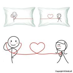 """BoldLoft """"My Heart Beats for You"""" Couple Pillowcases-ideal Anniversary Gifts, Birthday Gifts, Wedding Gifts, Valentine Gifts, Romantic Gifts for HIM or HER BoldLoft,http://www.amazon.com/dp/B0015DEZ8Y/ref=cm_sw_r_pi_dp_Av6Bsb1ZXSPET1D0"""