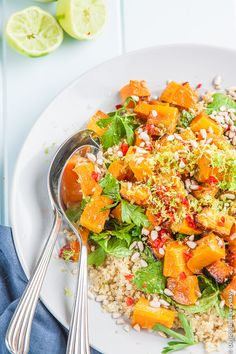 Lime, Chili and Roasted Butternut Pumpkin Quinoa Salad - a vegan and gluten free recipe | DeliciousEveryday.com