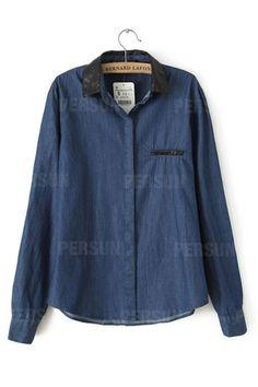 European Leather Doll Collar Denim Shirt [SHWM00002] - PersunMall.com