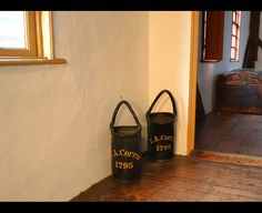 Fire Buckets  Newport, 1767-1805  Leather, Rope, Pitch, Paint  NHS W21.1-.2