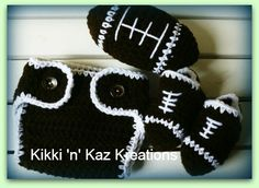 Baby crocheted Football outfit and Football by KikkinKazKreations