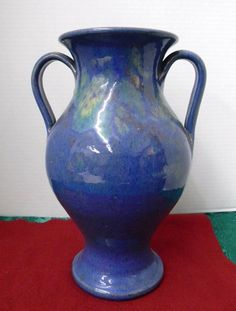 Attributed to A.R. Cole at Cole's Pottery or Rainbow Pottery both in Sanford, NC. Large Vase, Cobalt Blue Multicolor Glaze