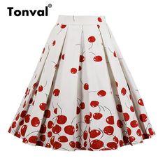 17093ed978 High Waist Red Rose Flower Pleated Plus Size Skirts. Cintura AltaFaldas  Media PiernaPlisadoMediasFaldas MujerFaldas ...