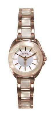 L Ladies 'Chelsea' gold watch with resin bezel and bracelet links- at Debenhams. Debenhams, Michael Kors Watch, Gold Watch, Chelsea, Owl, Rose Gold, Resin, Watches, Lady
