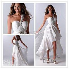 Wholesale Wedding Dresses - Buy Cheap White Beach Wedding Dresses High Low One Shoulder Ruffles Chiffon Sexy Bridal Gowns, $113.64 | DHgate