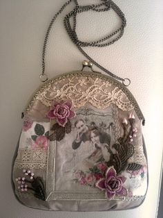 Shabby Chic Cross Body Tote Bag Crazy Quilt di Emeliebeads, $100,00