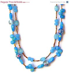 25 OFF Sky Blue Double Strand Flower Art Nouveau by ALFAdesigns, $59.99