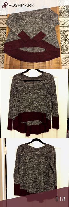 """Free people long sleeve top We are the free Free People long sleeve top. 53% rayon, 23% polyester, 21% nylon, 3% spandex. Very cozy with fitted arms. Kind of like a high low top (longer in the back)... (WE THE FREE """"stamp"""" with size washed off in the washer) Free People Tops Tees - Long Sleeve"""