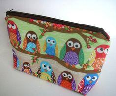Owls in Line Large Flat Bottom Padded Zipper Pouch  by JPATPURSES, $18.00