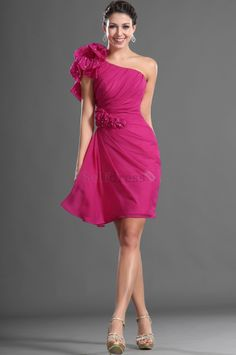 Inverted Triangle Velvet One Shoulder Flowers Natural Waist Thin Sheath Misses Knee Length Cocktail Dress