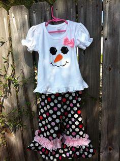 Snowgirl in Muti Dot fabric sizes 12m18m 24m 2T 4T by CruzsDesigns, $32.00