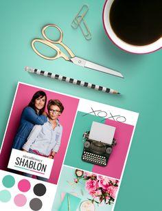 Editorial style moldboard SHABLON pink teal modern style