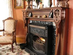 Antique Fireplace Grand Victorian Bellaire Michigan by gvkenna, via Flickr