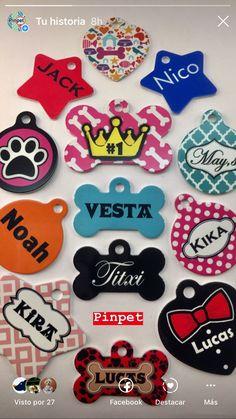 Placas para perros de diseño, fashion y unicolores. Personalizados con sus datos.