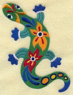Culture mexicaine Lagarto lézard brodé serviette de main pour le sac de farine