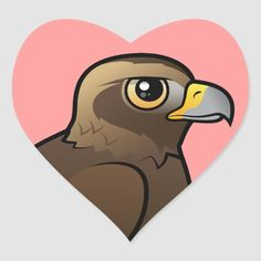 Shop Golden Eagle Heart Sticker created by birdorable. Kids Stickers, Custom Stickers, Eagle Bird, Golden Eagle, Cute Birds, Beautiful Birds, Eagles, Baby Animals, Colorful Backgrounds