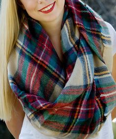 Look at this Tara Lynn's Boutique Tan & Red Plaid Blanket Scarf on #zulily today!