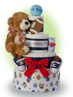 Start the baby's sports career off right with our baby boy sports theme 4 tier diaper cake. A great gift to a new Dad (also saves money on diapers :-) Only $91.00