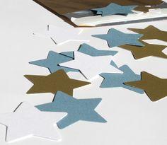 Streukonfetti - Sterne  in blau, weiß, gold von feierschick auf DaWanda.com