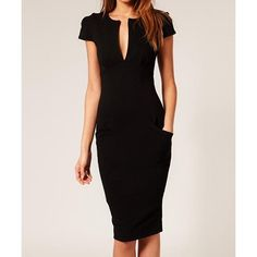 Glamour Plunging Neck Back Zipper Jag Short Sleeves Bodycon Dress For Women