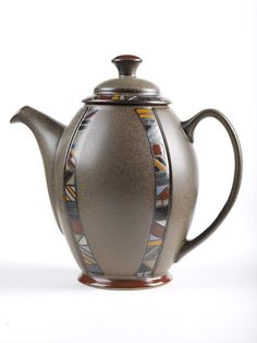 Coffee pot, stoneware, from 'Marrakesh' coffee set, pattern designed by Claire Bernard, 'Sovereign' shape designed by Richard Eaton, 1992, made by The Denby Pottery Co. Ltd., Derbyshire, 1996
