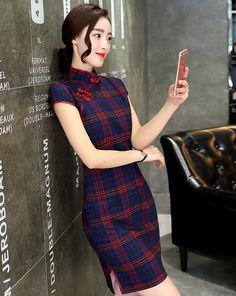 4e57a9948 Lana wool Daily Long Cheongsam,Qipao. Cheongsam DressShort Sleeve Dresses