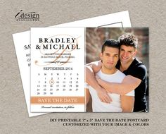 DIY Printable Gay Wedding Photo Save The Date Postcards By iDesignStationery On Etsy - $12.95