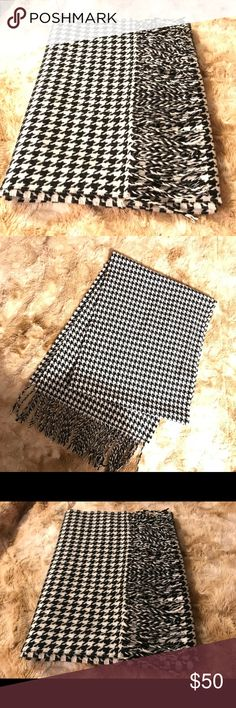NEW! 100% Cashmere Black and White Scarf 100% CASHMERE!!! SUPER SOFT and 'COMFY' black and white scarf.  Made in Germany.  NWOT Accessories Scarves & Wraps
