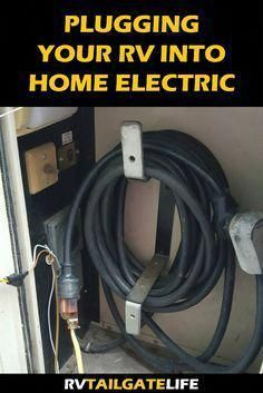 Guide to plugging your RV into your home electrical system. Keep RV batteries charged between trips! Rv Camping Tips, Travel Trailer Camping, Rv Tips, Travel Trailers, Rv Travel, Camping Ideas, Camping Products, Outdoor Camping, Travel Tips