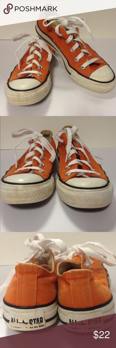 Converse sneakers orange 6 Well worn and well loved orange converse sneakers. These have been washed with new strings.  Men's 4/Women's 6 Converse Shoes Sneakers