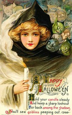 Vintage Halloween Card Ideas Part Vintage Style Black Hoodie Witch Lady And  Goblins Happy Halloween Wishes Greeting Card