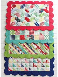 Featuring 4 different place mat designs to use up a large quantity of your scraps, this pattern is sure to help you spice up your kitchen decor! The scalloped edging on each mat gives each design a little extra charm. You may also use precut mini cha...