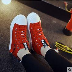Womens Platform High Top Lace-Up Hidden Heel Casual Canvas Sneakers Shoes Flats