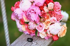 very pink wedding bouquet