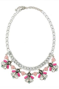 Collier Callie argent pierre rose