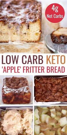 This delicious keto apple fritter zucchini bread makes a perfect fall treat. It's a warm sweet snack to enjoy when the cool weather hits. Low Carb Sweets, Low Carb Desserts, Healthy Sweets, Low Carb Recipes, Baking Recipes, Dessert Recipes, Kitchen Recipes, Bread Recipes, Best Low Carb Bread