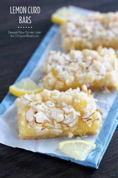 These Lemon Curd Bars have a shortbread crust and lemon curd filling with a coconut and toasted almond crumb topping. A bright and delicious citrus treat!