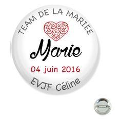 Badge EVJF personnalisable 38MM/ coeur : Pins, badges par happymax