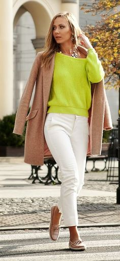 Lime Sweater Outfit Idea
