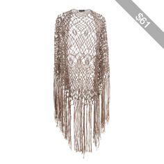 Miss Selfridge Oversized Fringe Crochet Shawl