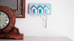 Surf. Shabby Chic Beach Hut Key Rack, Three Hooks for Keys, Handmade, Shades of Blue, This is Our 'Surf' Colour Scheme